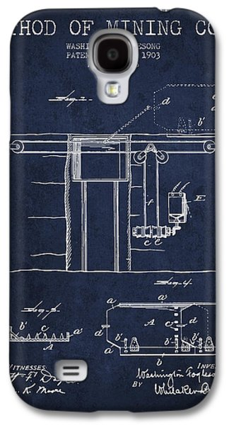 Machinery Galaxy S4 Cases - Coal Mining Patent From 1903- Navy Blue Galaxy S4 Case by Aged Pixel