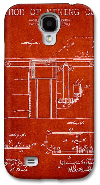Machinery Galaxy S4 Cases - Coal Mining Patent From 1903- Red Galaxy S4 Case by Aged Pixel