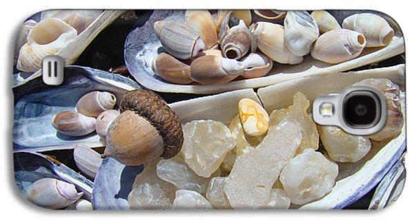 Agate Beach Oregon Galaxy S4 Cases - Coastal Beach art Prints Agates Shells Acorn Galaxy S4 Case by Baslee Troutman