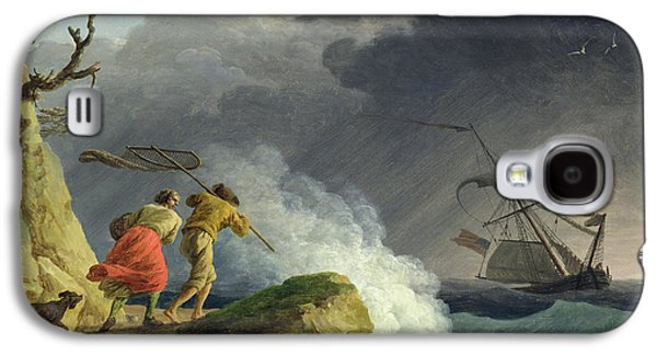 Sailboats In Harbor Galaxy S4 Cases - Coastal Scene in a Storm Galaxy S4 Case by Claude Joseph Vernet