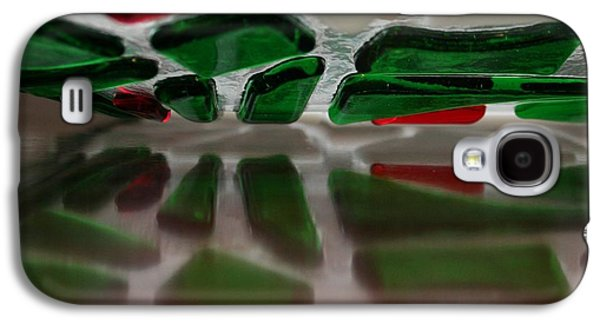 Original Art Glass Art Galaxy S4 Cases - Cobblestone Collection Wreath Reflections Galaxy S4 Case by Marsha Painter
