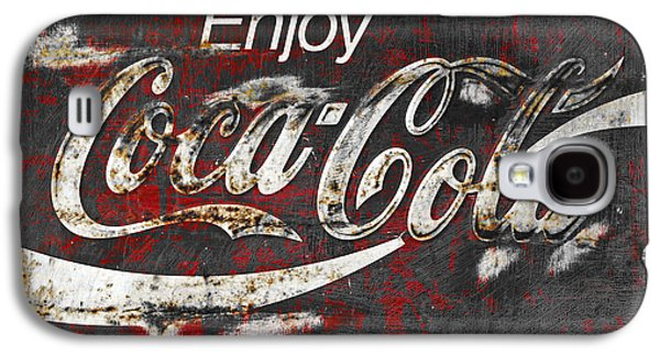 Signed Photographs Galaxy S4 Cases - Coca Cola Grunge Sign Galaxy S4 Case by John Stephens