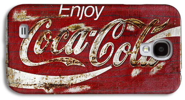 Coca-cola Signs Galaxy S4 Cases - Coca Cola Red Grunge Sign Galaxy S4 Case by John Stephens