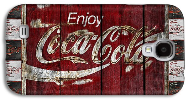 Coca-cola Signs Galaxy S4 Cases - Coca Cola Sign With Little Cokes Border Galaxy S4 Case by John Stephens