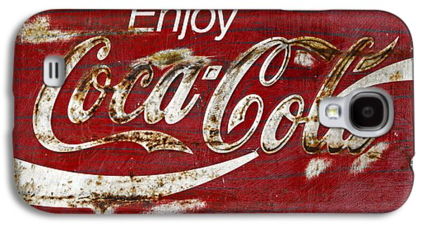 Coca-cola Signs Galaxy S4 Cases - Coca Cola Wood Grunge Sign Galaxy S4 Case by John Stephens