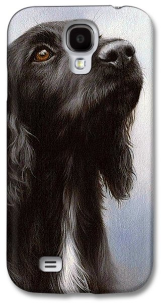 Black Dog Galaxy S4 Cases - Cocker Spaniel Painting Galaxy S4 Case by Rachel Stribbling