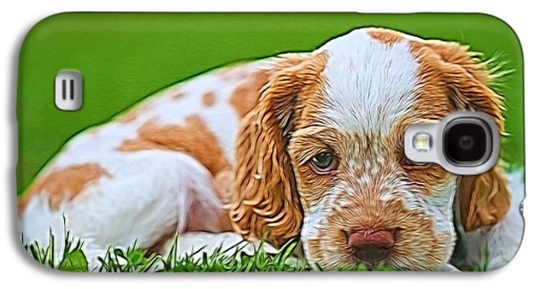 Owner Mixed Media Galaxy S4 Cases - Cocker Spaniel Puppy In Grass Galaxy S4 Case by Dan Sproul
