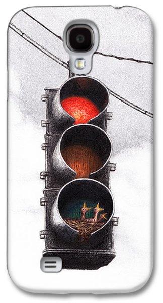 Traffic Light Drawings Galaxy S4 Cases - Code Red Galaxy S4 Case by Lars Furtwaengler