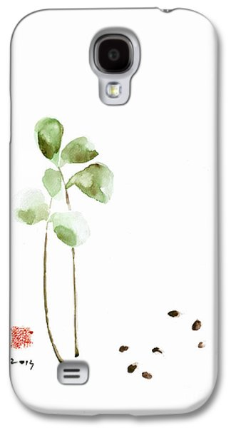 Coffee Cafe Plant And Beans Brown Green Watercolor Painting Kitchen Art Galaxy S4 Case by Mariusz Szmerdt
