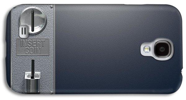 Mechanism Digital Art Galaxy S4 Cases - Coin Slot On Blue Background Galaxy S4 Case by Allan Swart