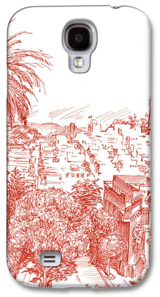 Street Drawings Galaxy S4 Cases - Coit Tower View From Russian Hill San Francisco Galaxy S4 Case by Irina Sztukowski