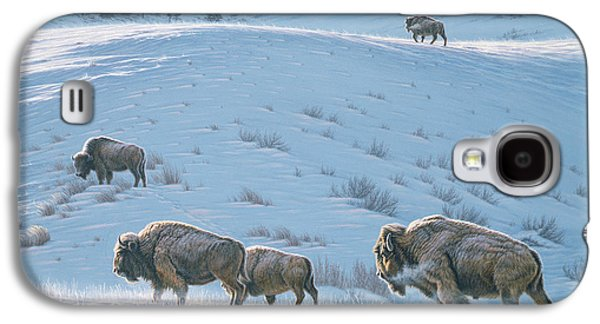 Bison Paintings Galaxy S4 Cases - Cold Day at Lamar Galaxy S4 Case by Paul Krapf