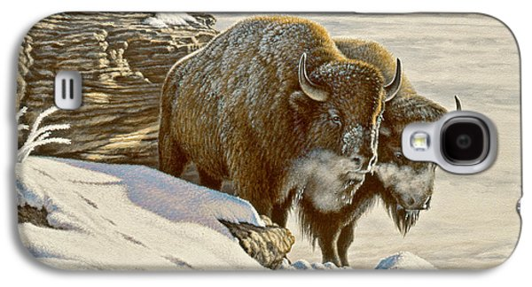 Bison Paintings Galaxy S4 Cases - Cold day at Soda Butte Galaxy S4 Case by Paul Krapf