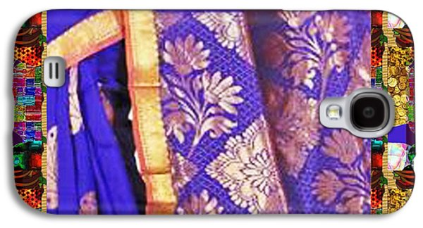 Business Galaxy S4 Cases - Collage Graphic Indian Silk Saree Fabric Border Galaxy S4 Case by Navin Joshi