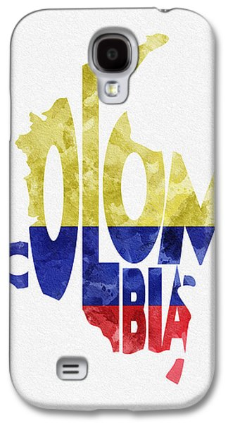 Dirty Digital Art Galaxy S4 Cases - Colombia Typographic Map Flag Galaxy S4 Case by Ayse Deniz