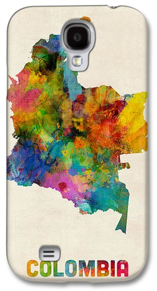 Map Galaxy S4 Cases - Colombia Watercolor Map Galaxy S4 Case by Michael Tompsett