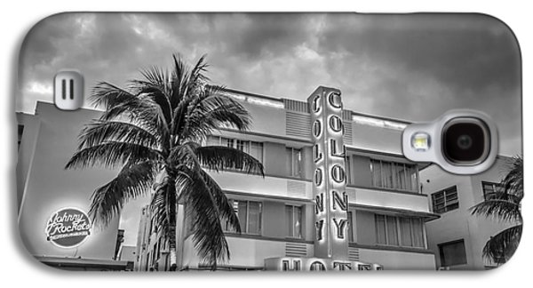 Elegance Photographs Galaxy S4 Cases - Colony and Johnny Rockets Art Deco District SOBE Miami - Black and White Galaxy S4 Case by Ian Monk