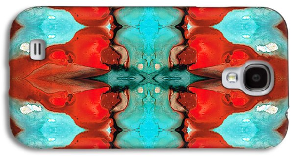 Color Chant - Red And Aqua Pattern Art By Sharon Cummings Galaxy S4 Case by Sharon Cummings