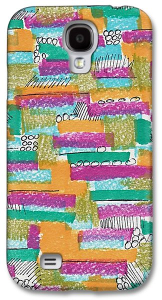 Abstract Collage Drawings Galaxy S4 Cases - Color Grid Galaxy S4 Case by Rosalina Bojadschijew
