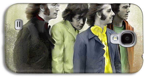 Beatles Drawings Galaxy S4 Cases - Color White V The Beatles Galaxy S4 Case by Iconic Images Art Gallery David Pucciarelli