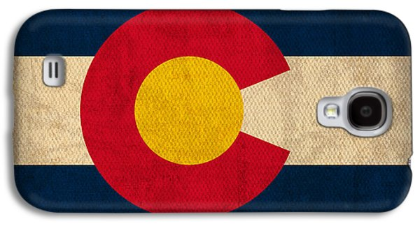 Flag Galaxy S4 Cases - Colorado State Flag Art on Worn Canvas Galaxy S4 Case by Design Turnpike