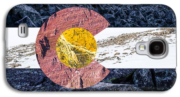 Snowy Digital Art Galaxy S4 Cases - Colorado State Flag with Mountain Textures Galaxy S4 Case by Aaron Spong