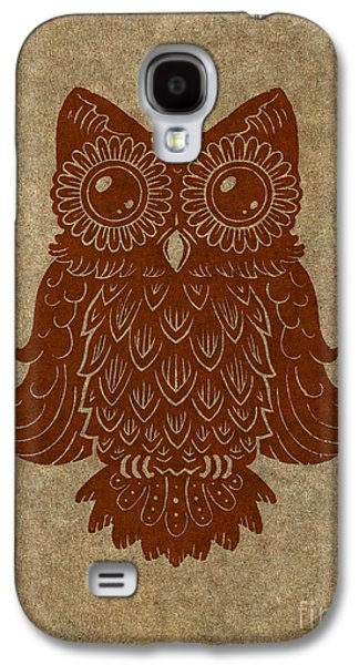 Lino Paintings Galaxy S4 Cases - Colored Owl 2 of 4  Galaxy S4 Case by Kyle Wood