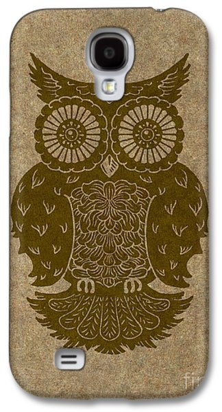 Lino Paintings Galaxy S4 Cases - Colored Owl 3 of 4  Galaxy S4 Case by Kyle Wood