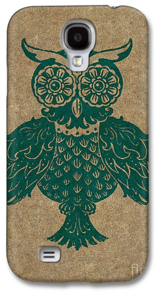 Lino Paintings Galaxy S4 Cases - Colored Owl 4 of 4  Galaxy S4 Case by Kyle Wood