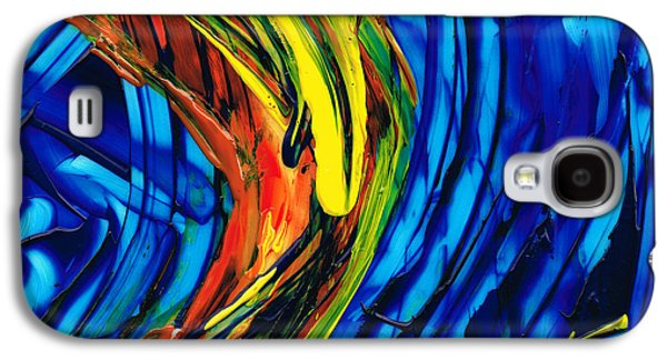 Blue And Red Paintings Galaxy S4 Cases - Colorful Abstract Art - Energy Flow 2 - By Sharon Cummings Galaxy S4 Case by Sharon Cummings