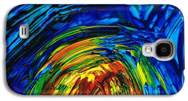 Blue And Red Paintings Galaxy S4 Cases - Colorful Abstract Art - Energy Flow 6 - By Sharon Cummings Galaxy S4 Case by Sharon Cummings