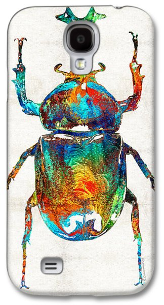 Ancient Galaxy S4 Cases - Colorful Beetle Art - Scarab Beauty - By Sharon Cummings Galaxy S4 Case by Sharon Cummings