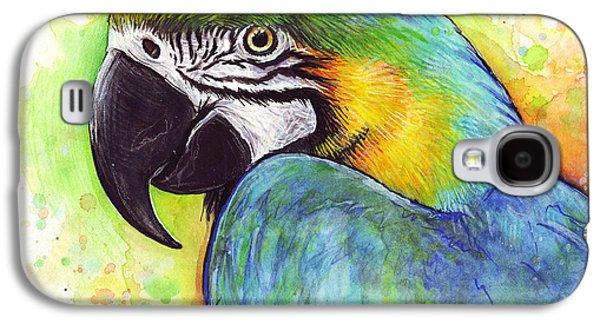 Macaw Watercolor Galaxy S4 Case by Olga Shvartsur