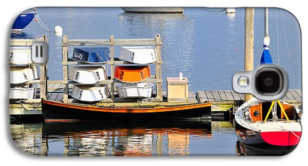 Contemplative Photographs Galaxy S4 Cases - Colorful boats Rockland Maine Galaxy S4 Case by Marianne Campolongo