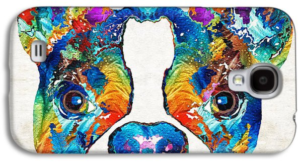 Boston Paintings Galaxy S4 Cases - Colorful Boston Terrier Dog Pop Art - Sharon Cummings Galaxy S4 Case by Sharon Cummings