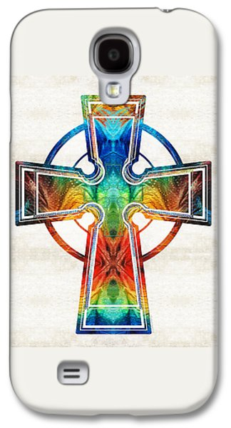 Scotland Paintings Galaxy S4 Cases - Colorful Celtic Cross by Sharon Cummings Galaxy S4 Case by Sharon Cummings