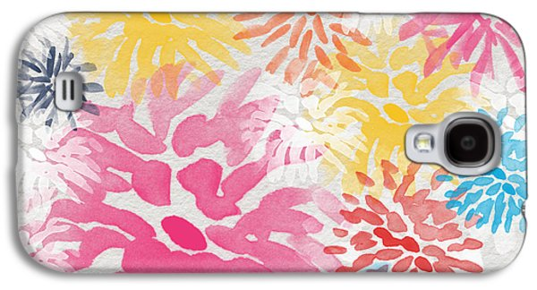 Cheerful Galaxy S4 Cases - Colorful Chrysanthemums- abstract floral painting Galaxy S4 Case by Linda Woods