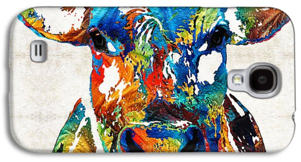 Nba Paintings Galaxy S4 Cases - Colorful Cow Art - Mootown - By Sharon Cummings Galaxy S4 Case by Sharon Cummings