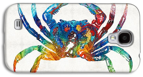Cottage Galaxy S4 Cases - Colorful Crab Art by Sharon Cummings Galaxy S4 Case by Sharon Cummings