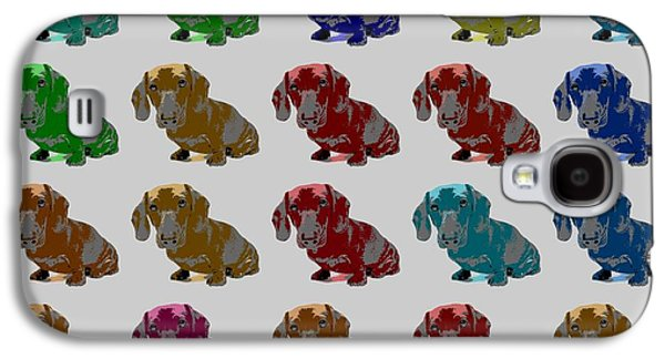 Puppy Digital Art Galaxy S4 Cases - Colorful Dachshund Pop Art Poster Galaxy S4 Case by Dan Sproul