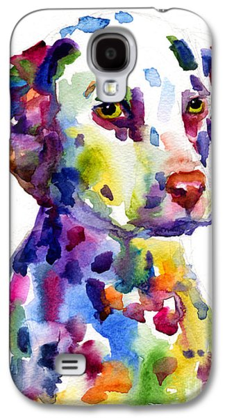 Dog Paintings Galaxy S4 Cases - Colorful Dalmatian puppy dog portrait art Galaxy S4 Case by Svetlana Novikova