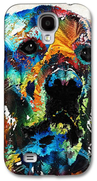 Dog Paintings Galaxy S4 Cases - Colorful Dog Art - Heart And Soul - By Sharon Cummings Galaxy S4 Case by Sharon Cummings
