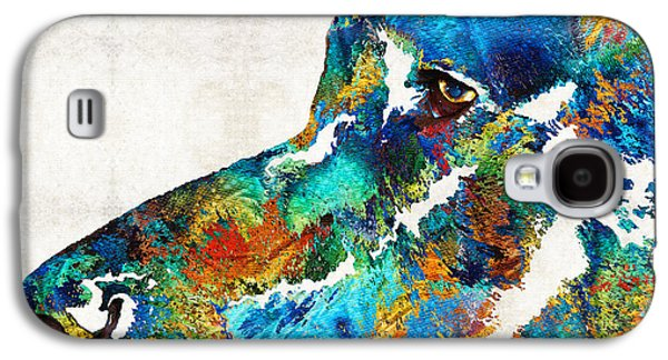 Hounds Galaxy S4 Cases - Colorful Dog Art - Loving Eyes - By Sharon Cummings  Galaxy S4 Case by Sharon Cummings