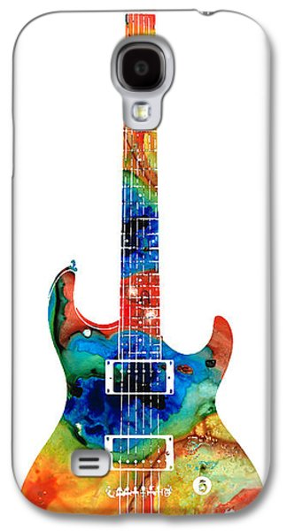 Music Mixed Media Galaxy S4 Cases - Colorful Electric Guitar 2 - Abstract Art By Sharon Cummings Galaxy S4 Case by Sharon Cummings