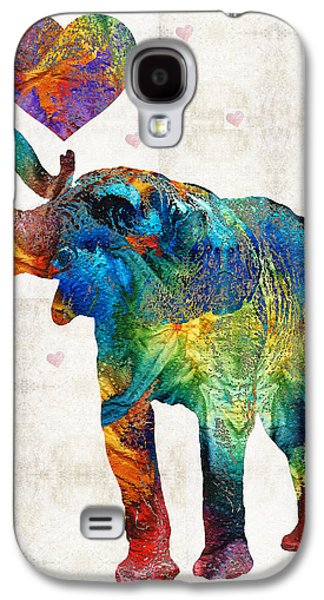 Youth Galaxy S4 Cases - Colorful Elephant Art - Elovephant - By Sharon Cummings Galaxy S4 Case by Sharon Cummings