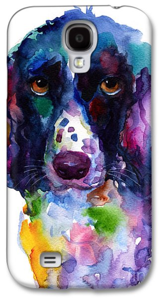 Spaniels Galaxy S4 Cases - Colorful English Springer Setter Spaniel dog portrait art Galaxy S4 Case by Svetlana Novikova
