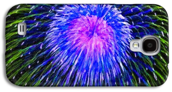 4th July Paintings Galaxy S4 Cases - Colorful fireworks on the black sky background Galaxy S4 Case by Lanjee Chee