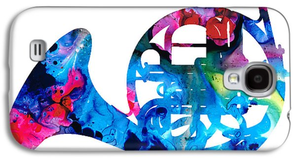 Colorful French Horn 2 - Cool Colors Abstract Art Sharon Cummings Galaxy S4 Case by Sharon Cummings