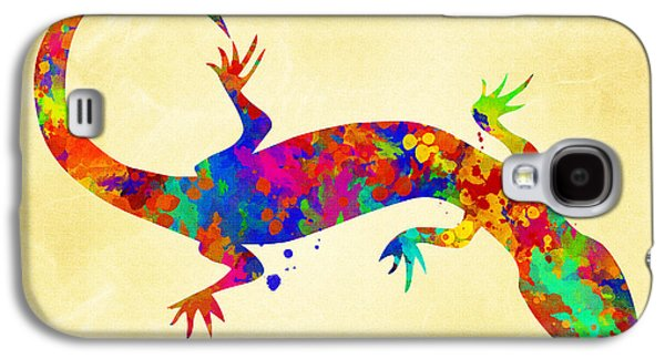 Nature Abstracts Galaxy S4 Cases - Gecko Watercolor Art Galaxy S4 Case by Christina Rollo