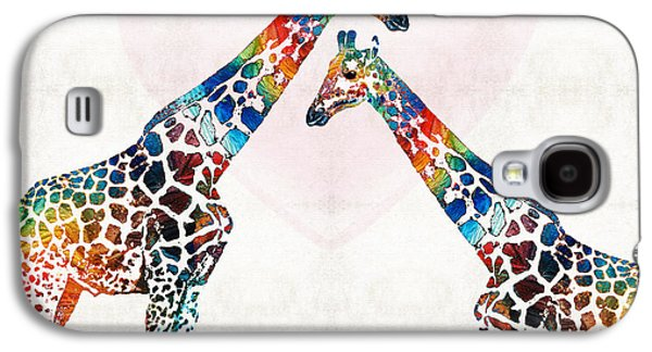 Sisters Paintings Galaxy S4 Cases - Colorful Giraffe Art - Ive Got Your Back - By Sharon Cummings Galaxy S4 Case by Sharon Cummings